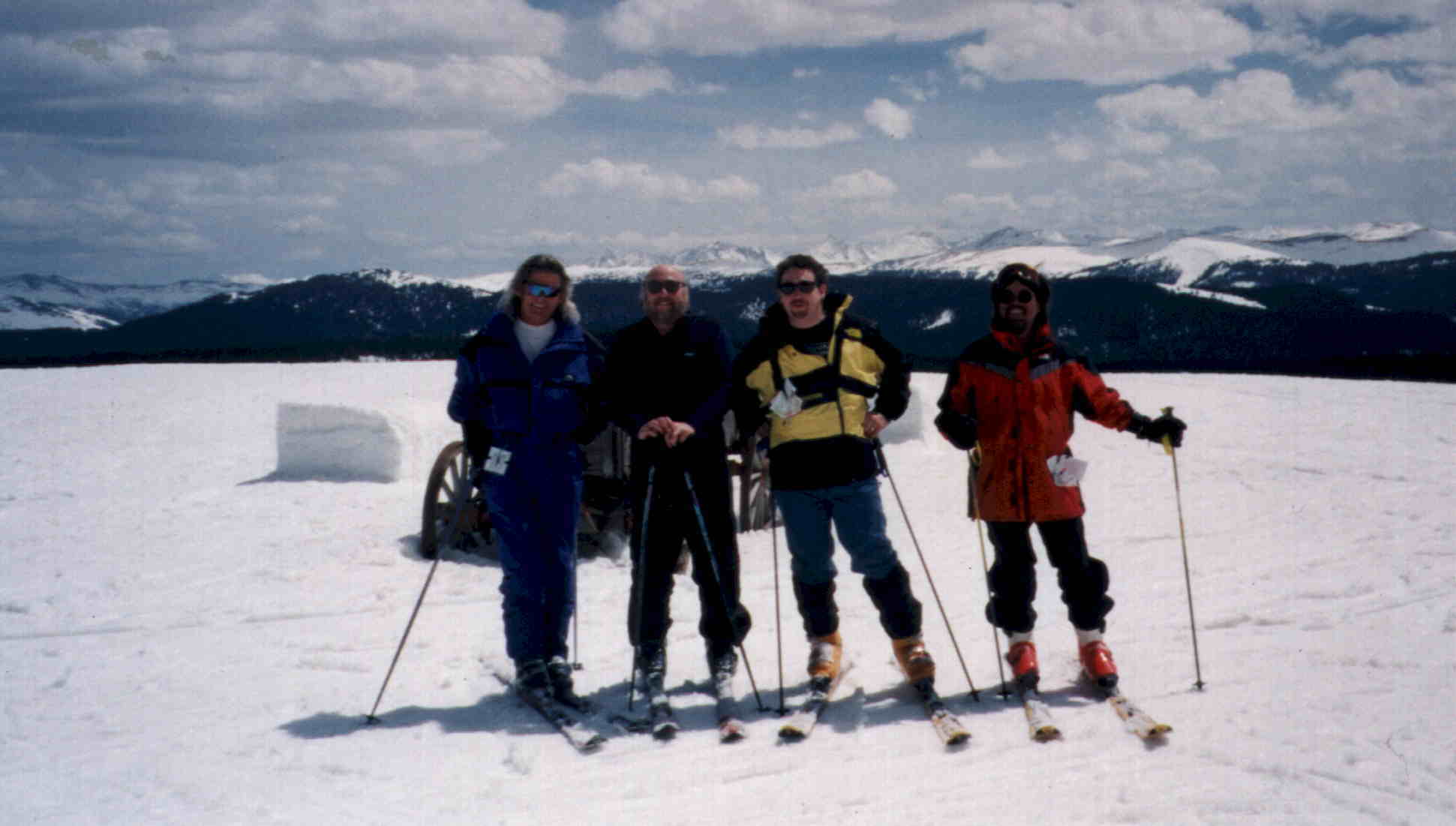 The boys at Blue Sky Basin in the back bowls of Vail, from left, Terry, Mini, Me, & Tinker