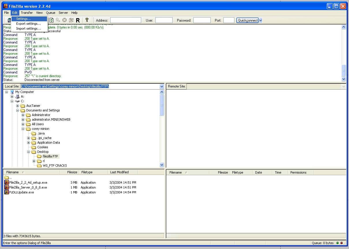 Minions Web - Filezilla FTP Client Set Up